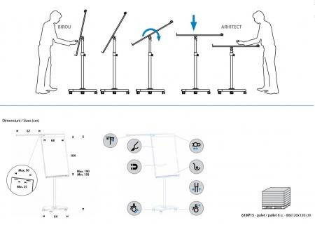 Flipchart Multifunctional mobil 360° magnetic, reglabil pe inaltime, Rocada10