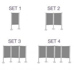 Panou prezentare fix, dubla fata gri MAGNETOPLAN (set 1-2-3-4 panouri fixe)