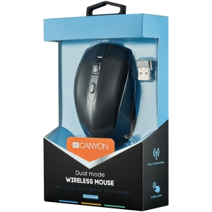 2 in 1 Wireless mouse, Optical 800/1200/1600 DPI, 6 button, 2 mode(BT/ 2.4GHz), black1
