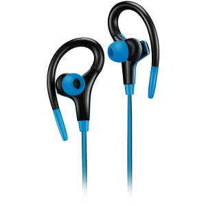 Canyon stereo sport earphones with microphone, 1.2m flat cable, blue0