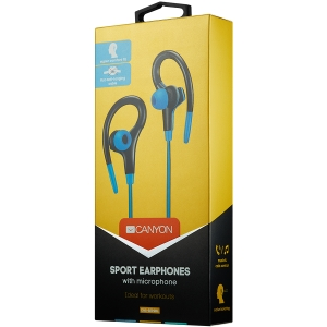 Canyon stereo sport earphones with microphone, 1.2m flat cable, blue1
