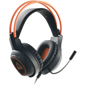 Canyon Gaming headset with 7.1 USB connector, adjustable volume control, orange LED backlight, cable length 2m, Black, 182*90*231mm, 0.336kg0