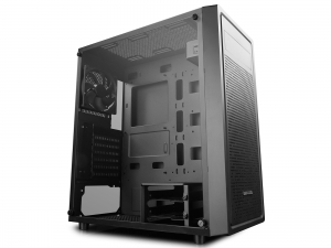 "CARCASA DeepCool Middle-Tower  E-ATX, 1* 120mm fan (inclus), tempered glass, front audio & 1x USB 3.0,  2x USB 2.0, black ""E-SHIELD"""