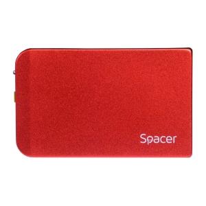 "RACK EXTERN SPACER 2.5"" HDD S-ATA to USB 3.0, Aluminiu, Rosu, ""SPR-25611R""0"