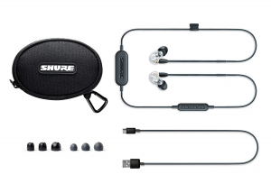Casti profesionale in-ear Shure SE215-CL-BT1-EFS,  Bluetooth, Wireless, cu super izolare fonica, transparent2