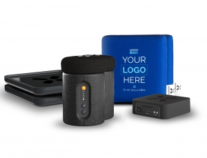 Microfon wireless CatchBox Plus, pentru conferinte de 1000 persoane, culoare albastra
