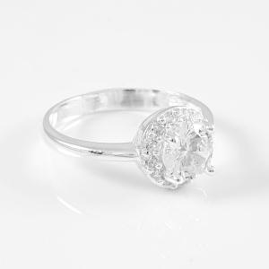 Inel tip logodna cu zirconiu din argint