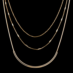 Colier triplu placat cu aur de 18 K My Precious1