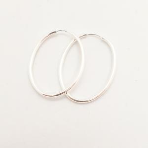 Creole ovale 2.2 cm Silver din argint0