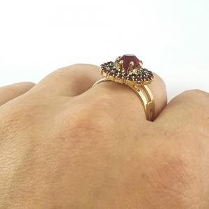 Inel placat cu aur Red Crown3