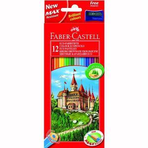 Creioane Colorate Eco Faber-Castell - 12 culori / cutie carton + ascutitoare
