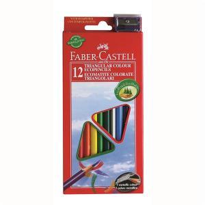 Creioane Colorate Triunghiulare cu Ascutitoare Eco Faber-Castell - 12 culori/set