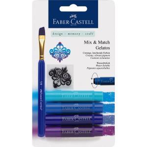 Set 4 Pasteluri Solubile Gelatos Nuante Albastru Faber-Castell