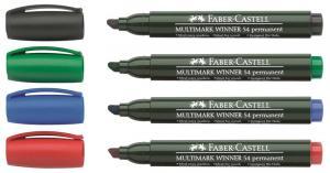 Marker Permanent Varf Tesit Multimark Winner 54 Faber-Castell - rosu