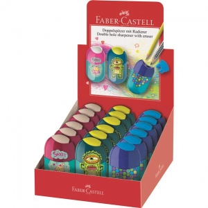 Display 18 Ascutitori Asortate Cupcake-Monstru-Patratele Faber-Castell