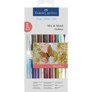 Set 12 Pasteluri Solubile Gelatos si 3 Accesorii Culori Metalice Faber-Castell