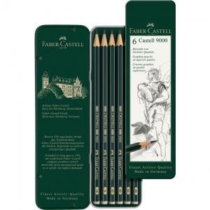 Set 6 Buc Creion Grafit Castell 9000 Faber-Castell