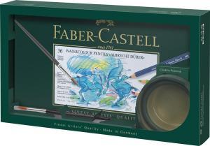 Set Cadou 36 Creioane Colorate A. Durer + Cutie Apa+ Pensula Faber-Castell