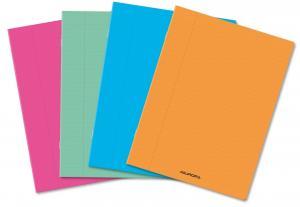 Caiet A5, 36 file - 80g/mp, liniat stanga, coperta PP transparent color, AURORA - matematica2