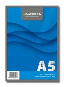 Blocnotes capsat, A5, 100 file - 60g/mp, microperforatii, AURORA Office - velin
