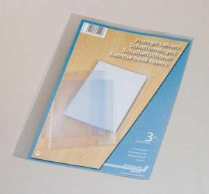Coperta PP - 120 microni, pentru caiet A4, 3 buc/set, AURORA - transparent cristal1