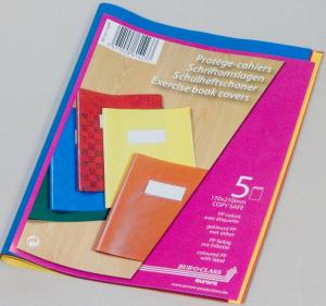 Coperta PP - 120 microni, cu eticheta, pentru caiet A5, 5 buc/set, AURORA - culori asortate2