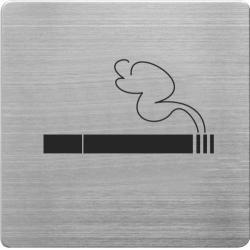 Placuta cu pictograma ALCO, din otel inoxidabil, imprimate cu negru - fumatul permis