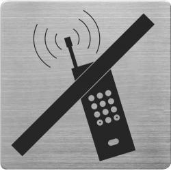 Placuta cu pictograma ALCO, din otel inoxidabil, imprimate cu negru - interzis vorbitul la mobil