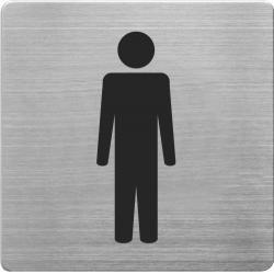 Placuta cu pictograma ALCO, din otel inoxidabil, imprimate cu negru - toaleta barbati