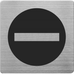 Placuta cu pictograma ALCO, din otel inoxidabil, imprimate cu negru - trecerea interzisa