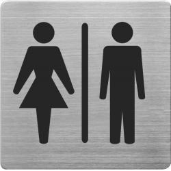 Placuta cu pictograma ALCO, din otel inoxidabil, imprimate cu negru - toaleta femei/barbati