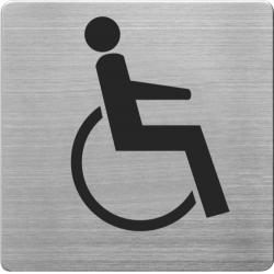 Placuta cu pictograma ALCO, din otel inoxidabil, imprimate cu negru - persoane cu handicap