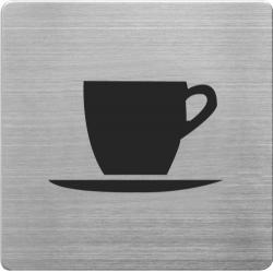 Placuta cu pictograma ALCO, din otel inoxidabil, imprimate cu negru - cafea/ceai
