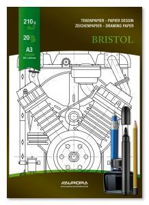 Bloc desen A3, 20 file - 210g/mp, pentru schite creion/marker, AURORA Bristol1