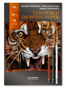 Bloc desen A4, 20 file - 120g/mp, AURORA Raphael - hartie culori asortate