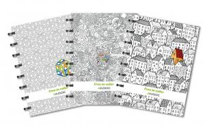 Caiet A5+, 72 file - 90g/mp, coperta carton embosat - free to colour, AURORA Adoc Crea - matematica