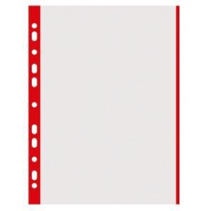 Folie protectie transparenta, cu margine color, 40 microni, 100 folii/set, DONAU - margine rosie