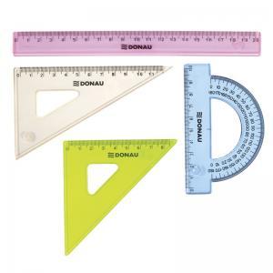 Set geometrie mic, contine: rigla 20cm, raportor, echer 10.5cm si echer 15cm, DONAU -culori asortate0