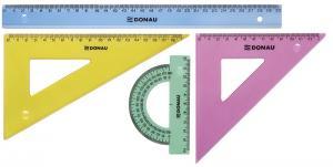 Set geometrie mare, contine: rigla 30cm, raportor, echer 13cm si echer 19cm, DONAU - culori asortate0