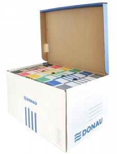Container de arhivare cu capac deschidere superioara, carton 490gsm, DONAU - albastru/alb