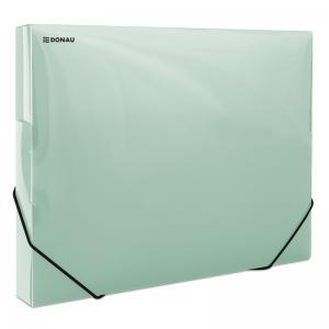 Mapa din plastic cu elastic pe colturi, latime 30mm, 700 microni, DONAU - verde transparent