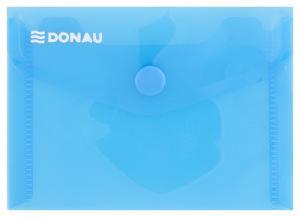 Mapa PP protectie documente A7 landscape, inchidere cu capsa, 10/set, DONAU - albastru transparent