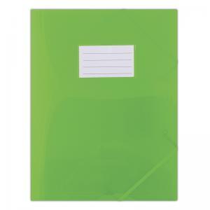 Mapa plastic cu elastic pe colturi, cu eticheta, 480 microni, DONAU - verde transparent