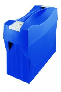 Suport plastic pentru 20 dosare suspendabile, cu capac, HAN Swing Plus - albastru
