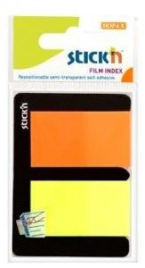 Stick index plastic transparent color 45 x 25 mm, 2 x 25 file/set, Stick