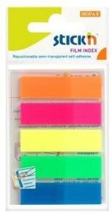 Stick index plastic transparent color 45 x 12 mm, 5 x 25 file/set, Stick