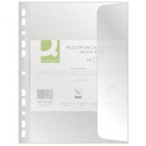 Folie protectie documente B4, cu clapa laterala, 100 microni, 10/set, Q-Connect - transparent
