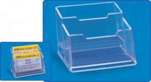 Suport plastic pentru 2 seturi carti de vizita, pentru birou, KEJEA - transparent