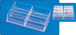 Suport plastic pentru 6 seturi carti de vizita, pentru birou, KEJEA - transparent