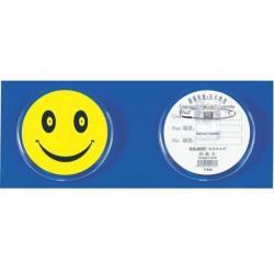 Ecuson plastic KEJEA - Smile, forma rotunda, cu ac si clips, D45mm